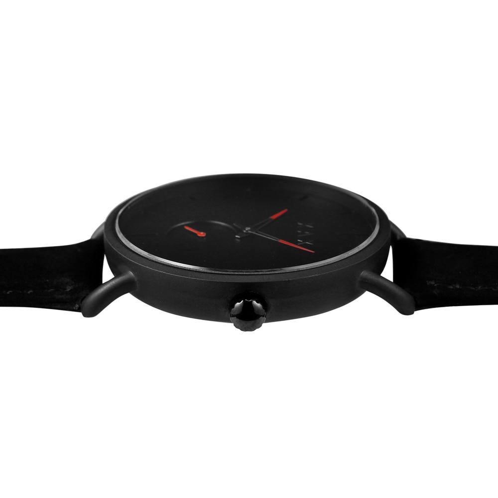 Reloj negro minimalista para hombre. Reloj de cuero negro de gamuza de lujo. Relojes de trabajo de esfera pequeña - 5