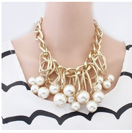 2016 New Fashion Big Multilayer Chunky Statement Imitation Pearl Necklaces & Pendants Exaggerated Charm Women Jewelry