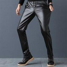 Мужские кожаные брюки размера плюс, бархатные облегающие брюки из искусственной кожи, теплые высокие эластичные мотоциклетные брюки, мужские плотные обтягивающие брюки из искусственной кожи, Капри