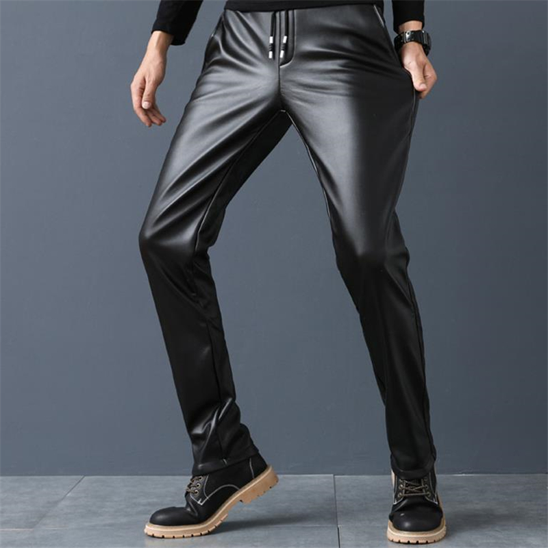 Man Plus Size Leather Pants Plus Velvet Slim Pu Trousers Warm High Elastic Motorcycle Pant Male Thick Skinny PU Pantalons Capris