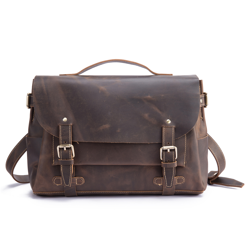 New Mens Genuine Leather Briefcase Document Holder Vintage Crazy Horse Leather Ipad 13 Laptop Case Handbags