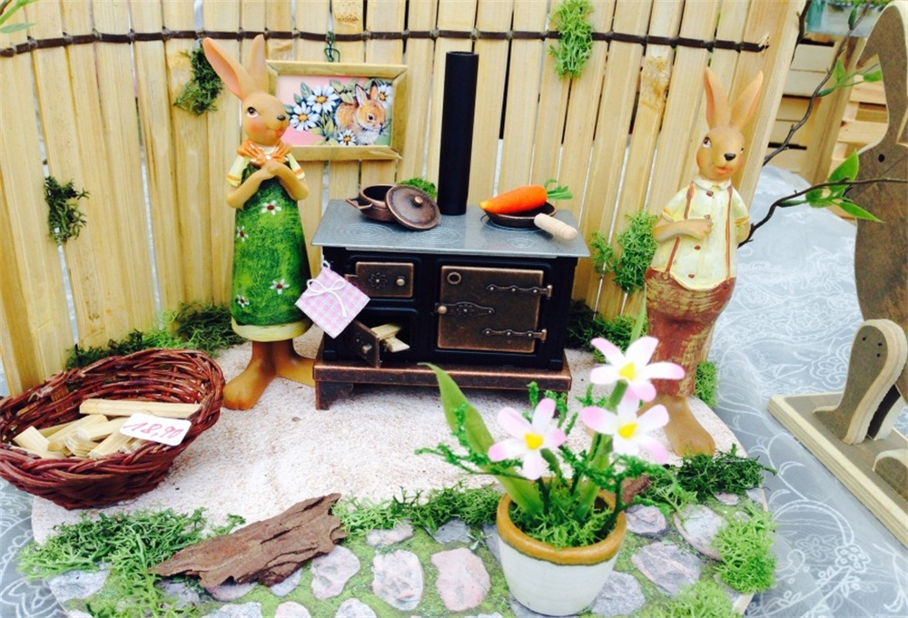 Laeacco Wooden Fence Rabbit Model Desk Flower Photography Backgrounds Customized Photographic Backdrops For Photo Studio