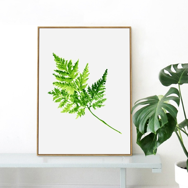 Watercolor Fern Green Leaves Wall Art Decor Print Poster , Tropical Plants  Fern Canvas Painting Poster