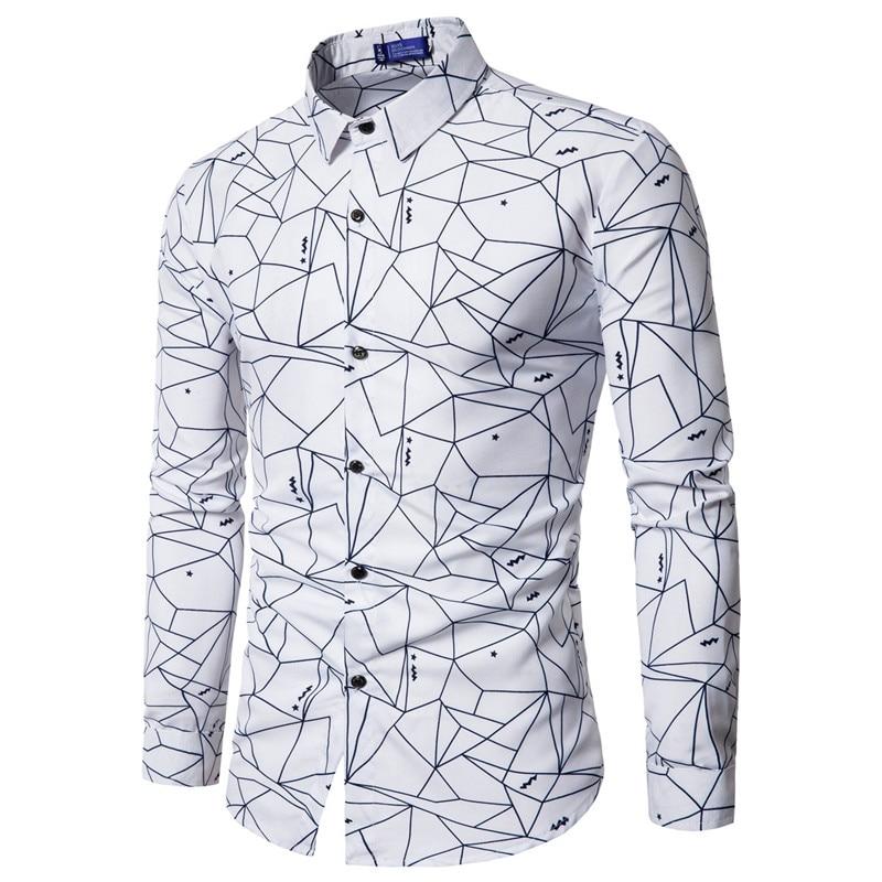 0ea604c3fff 2018 Summer Hot Sale Men Geometic Patterns Printed Casual Long Sleeve Shirts