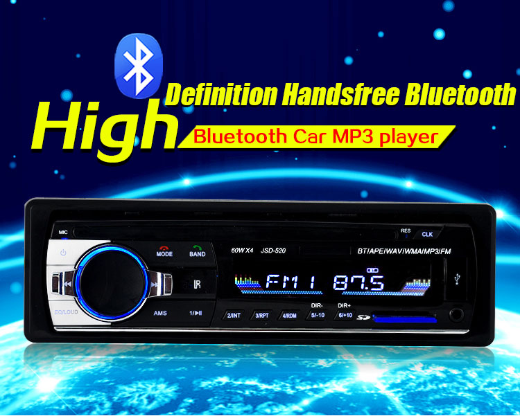 Rectangle JSD - 520 Car MP3 Player Bluetooth 2.0 12V FM Radio Stereo Receiver in Dash MP3 MMC WMA Car Audio Player Aux Input image
