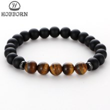 HOBBORN Trendy Chakra Bead Men Bracelet 8mm Natural Matte Black Onyx Tiger Eye Handmade Strand Healing Women Energy Bracelets