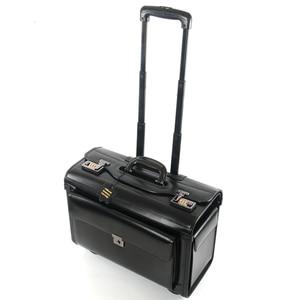 Image 3 - חדש רטרו אמיתי עור טייס מתגלגל מזוודות בקתה חברת תעופה דיילת נסיעות תיק על גלגלים עסקים עגלת מזוודות hangbag