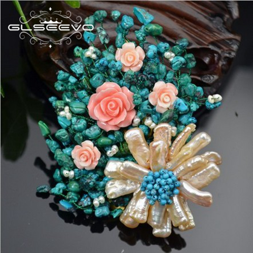 GLSEEVO Natural Fresh Water Baroque Pearl Flower Brooch Pin Turquoise Brooches For Women Dual Use Designer