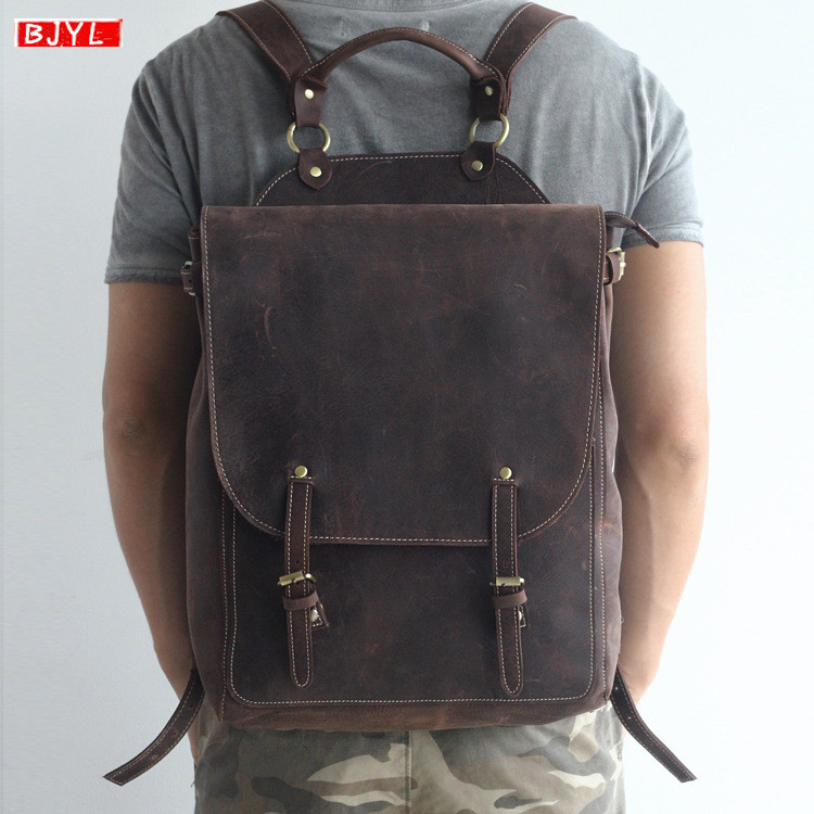 BJYL Genuine leather mens backpack retro crazy horse leather business men laptop shoulder bag computer leisure travel backpackBJYL Genuine leather mens backpack retro crazy horse leather business men laptop shoulder bag computer leisure travel backpack