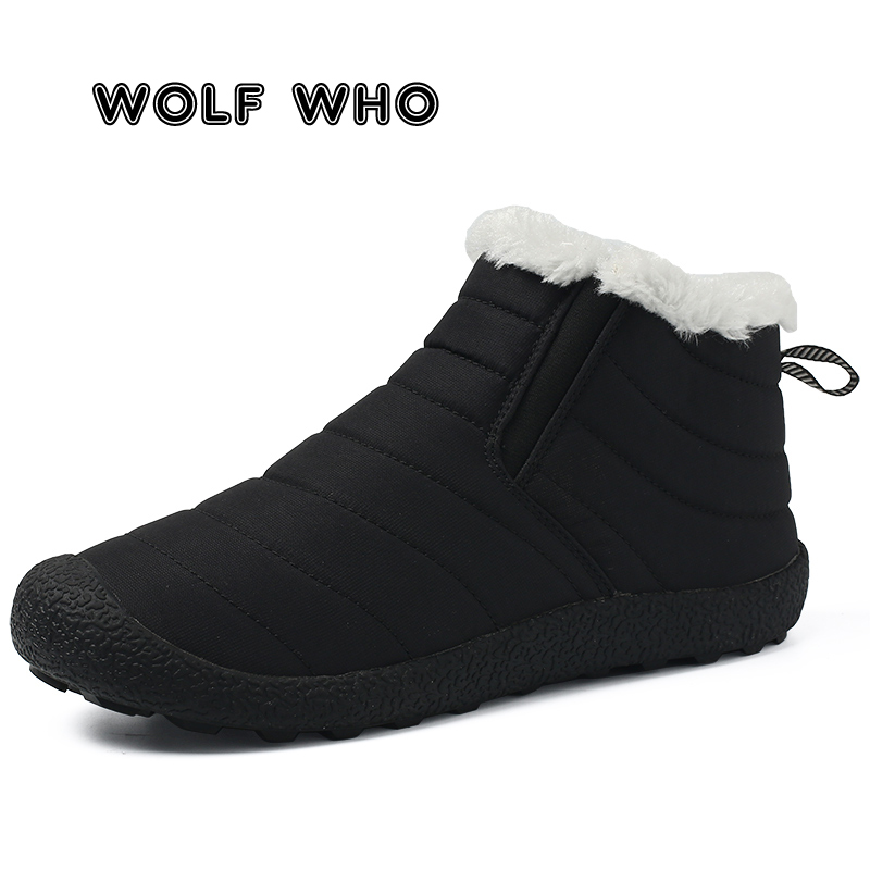 WOLF WHO Super Warm Men Winter Boots Men Warm Waterproof Rain Boots Shoes New Male Ankle Snow Boots Botas Masculina Bota X-188 image