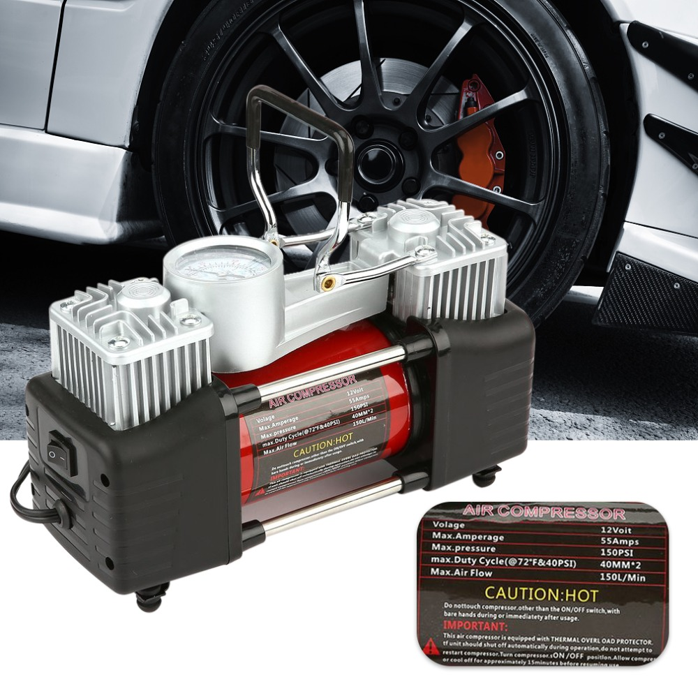 12V 150PSI Portable Heavy Duty 2 Cylinder Car Air Compressor Tire Inflator Pump Universal for Car Trucks Bicycle J35CZQ479