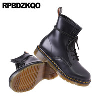 Ankle High Quality Designer Full Grain Retro Combat Boots Autumn Military Black Men Chunky Genuine Leather Shoes Lace Up Army