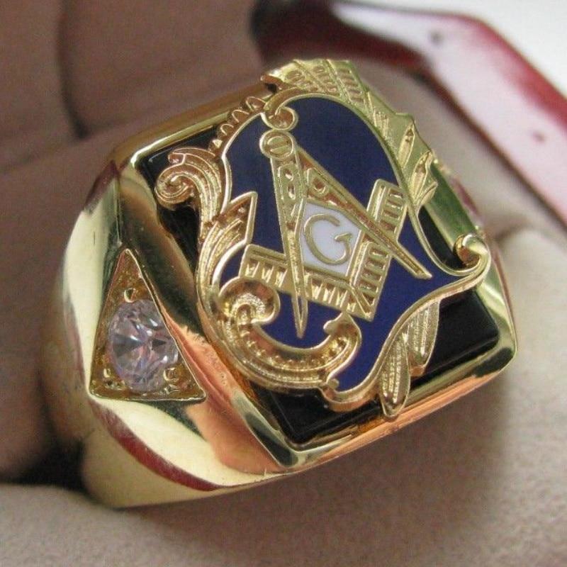 Vente chaude Naturel Onyx 18kt Gold Filled Masonic Memorial Parti religieux anneau Taille 7 8 9 10 11 12 13 14 15
