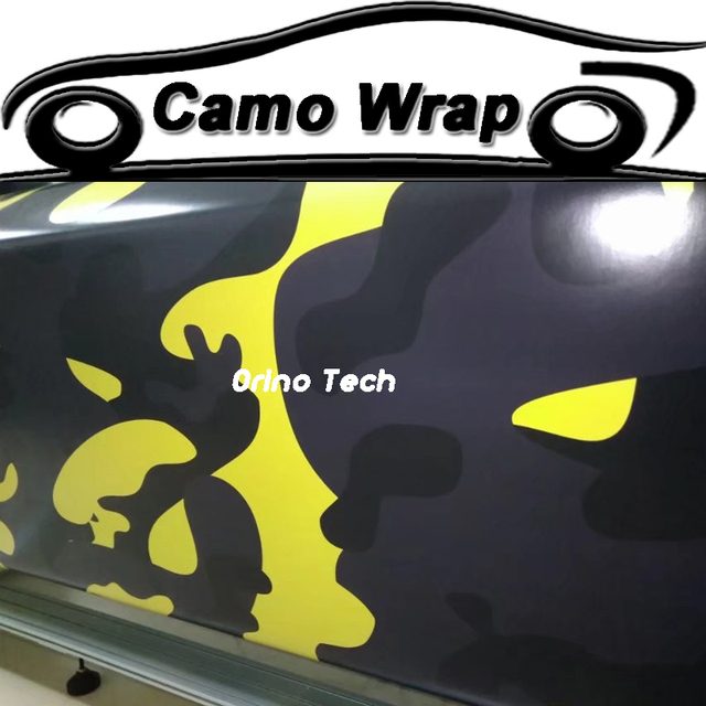 Orino jumbo black yellow camouflage car vinyl wrap film sticker car styling vehicle motorbike wraps foil
