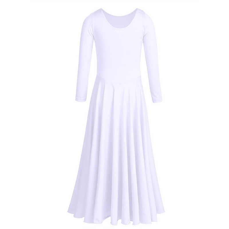 TiaoBug/платье с длинными рукавами для девочек; свободное платье для балета; платье-пачка для танцев; лирические танцевальные костюмы; платье до щиколотки; современный танцевальный костюм