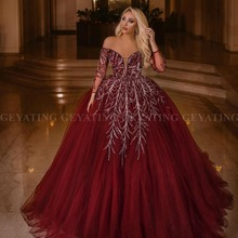 Элегантное бордовое бальное платье с открытыми плечами, вечернее платье в арабском Дубае, элегантное женское платье с длинными рукавами, большие размеры, вечерние платья