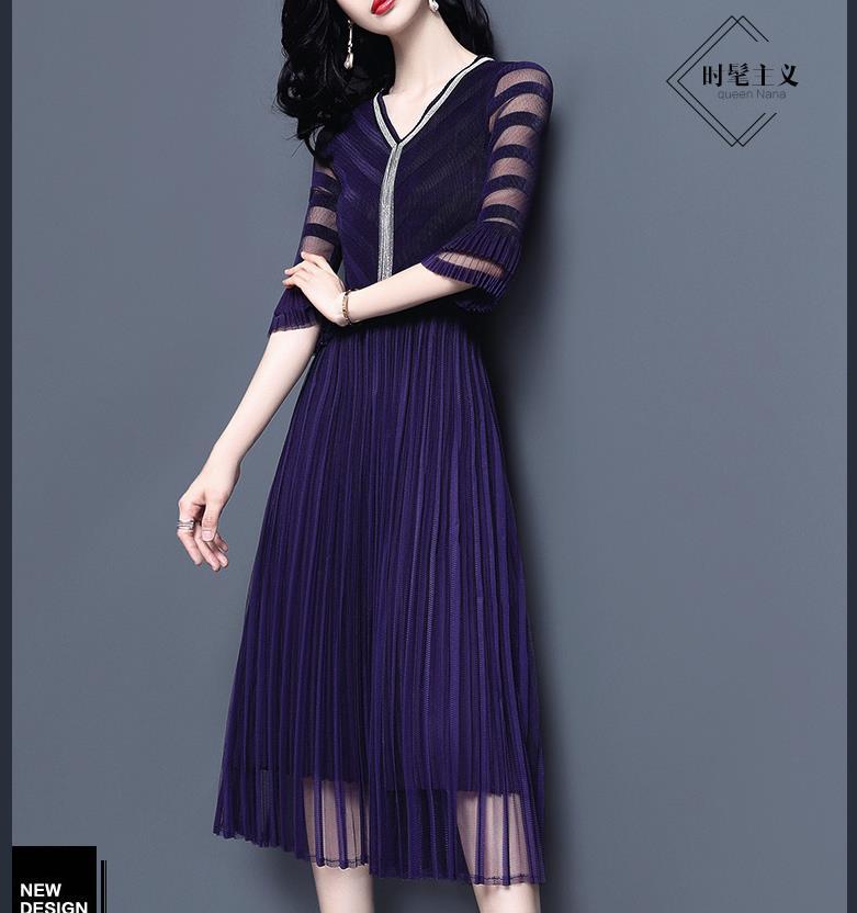 2019 printemps robe nouvelle taille haute robe mi-longue tempérament dame dentelle robe