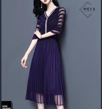 2019 봄 드레스 새로운 높은 waisted 미디 드레스 기질 레이디 레이스 드레스