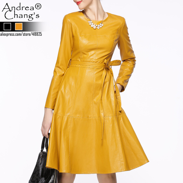 2015-autumn-winter-designer-womens-dresses-yellow-black-PU-leather-dress-with-sash-knee-length-high.jpg_640x640.jpg