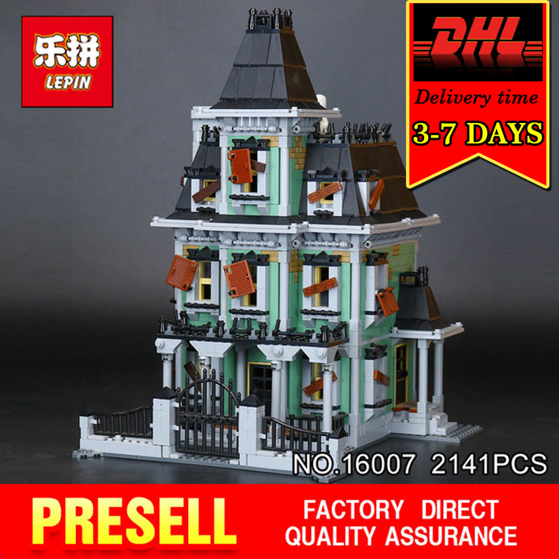 DHL LEPIN 16007 Building Blocks Set 2141Pcs Haunted House Brick Model Kit Compatible With 10228 Toy for Children Monster Fighter in stock new lepin 16007 2141pcs monster fighter the haunted house model set building kits model compatible with10228