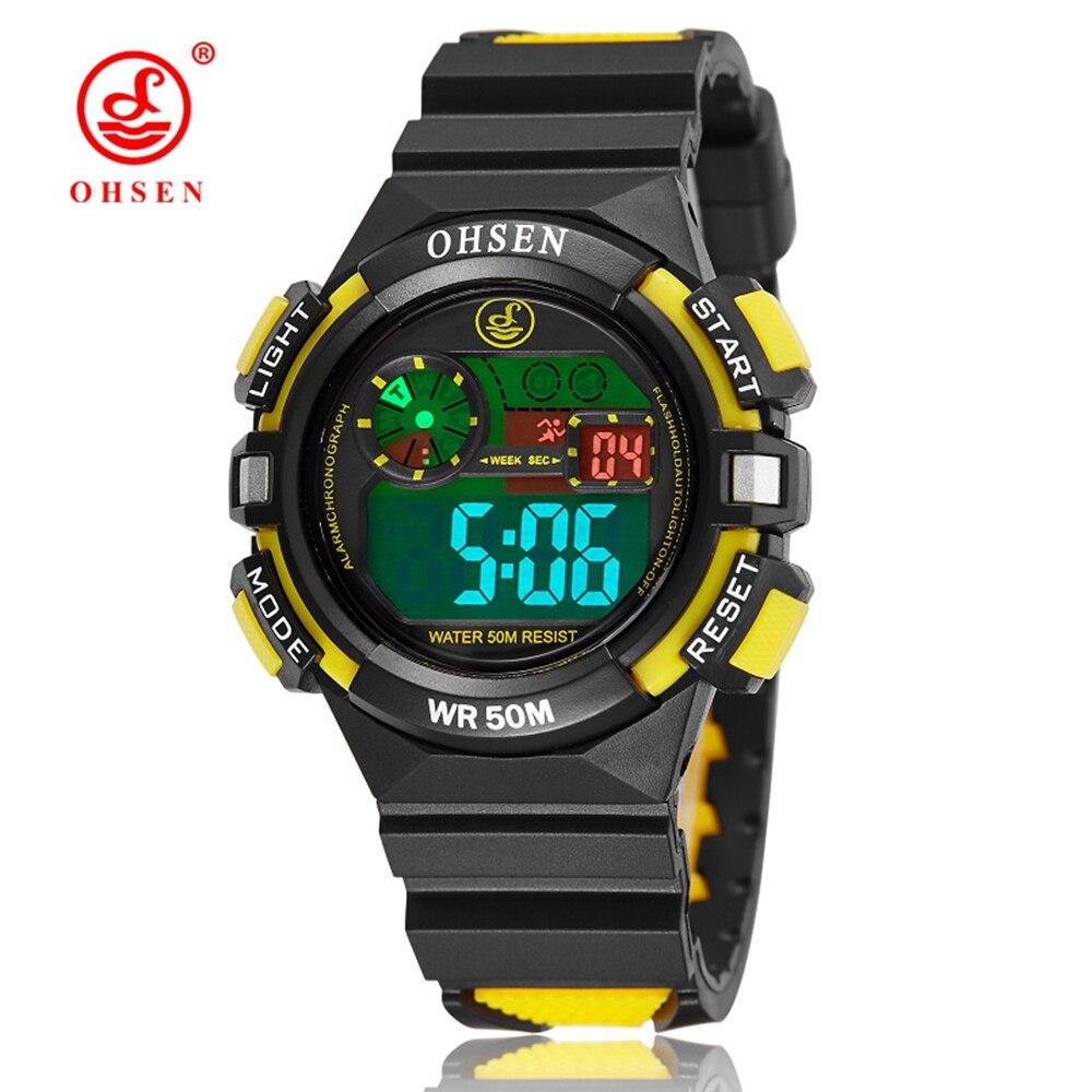 2016 OHSEN Brand Digital LCD Kids Girls Fashion Wristwatch Rubber Strap Yellow 50M Waterproof Child Boys Watch Alarm Hand Clocks