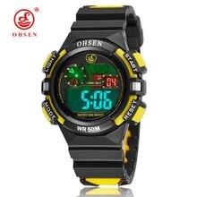 OHSEN Brand Digital LCD Kids Girls Fashion Wristwatch Rubber