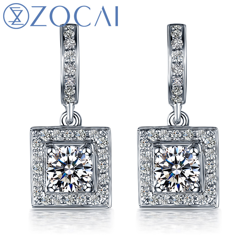 ZOCAI earrings Love In Pairs 18K white gold 0.45 CT Certified Genuine diamond Wedding diamond earrings E00850 kids dresses for girls costumes 2017 brand girls summer dress ice cream print robe fille enfant princess dress children clothing