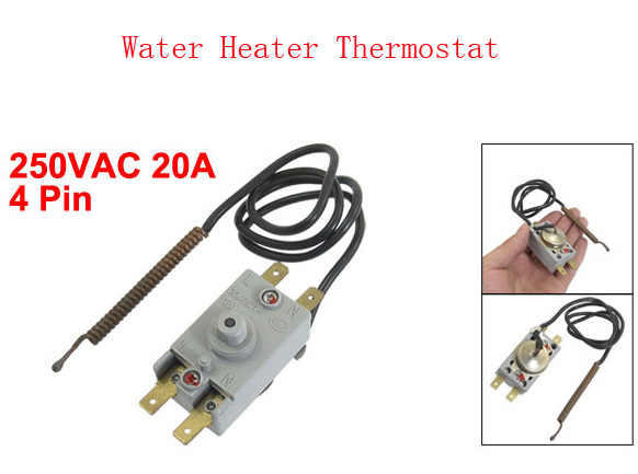 250VAC 20A 4 Pin Terminals Thermostat for Electric Water Heater Kettle WQS93-12 3pcs