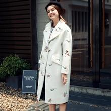 Quintina 2016 Новая мода длинные Стиль свободные женские пальто casaco feminino отложным воротником женский пальто зимнее пальто женские