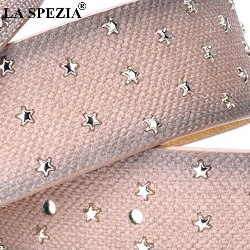 La Spezia Leather Belt Wanita Rivet Abu-abu Pin Sabuk Wanita Star Dekorasi Fashion Merek Asli Kulit Sapi Wanita Belt untuk celana Jeans