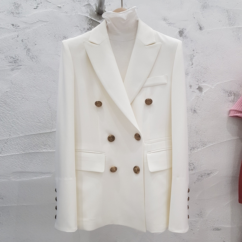Women's suit jacket autumn Korean version of the self-cultivation double-breasted long section small suit fashion women's jacket