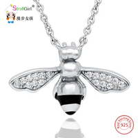 Lovely Bee Animal Necklaces Pendants Charm Necklace 925 Sterling Silver For Women Jewelry Accessories Selling Cute