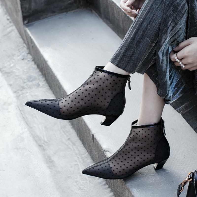 HZXINLIVE Luxury 4 CM Kitten Heels Shoes Woman 2018 Ankle Boots in Black  Dotted Tulle Pointed d582644127da