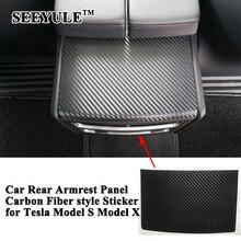 1 шт.. SEEYULE карбоновое волокно автомобиля задний подлокотник коробка A/C панель украшения наклейка крышка аксессуары для укладки для Tesla модель S модель X
