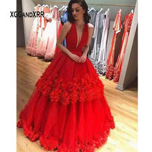 XGGandXRR Elegant Red Long Prom Dress 2019 with Flower Sexy