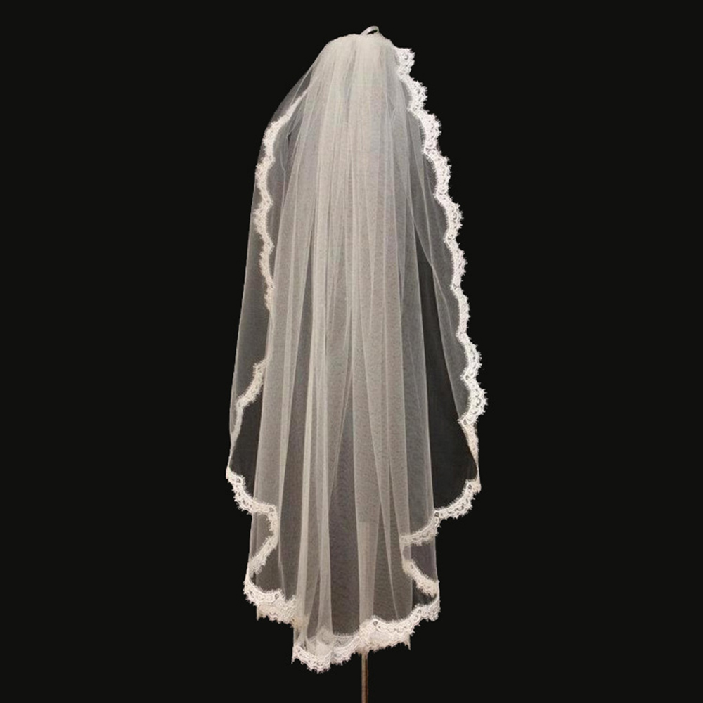 Hot Wedding Veil White One-tier Elbow Veils Lace Applique Edge With Comb