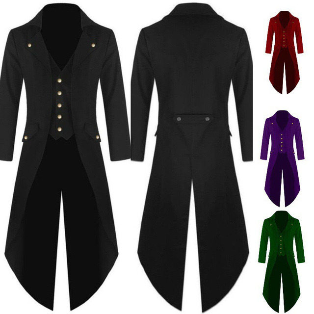 c752cd82281 Men Victorian Costume Black Tuxedo Fashion Tailcoat Gothic Steampunk Trench Jacket  Coat Frock Outfit Dovetail Uniform