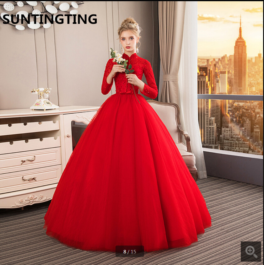 2019 romantic red lace wedding dress modest high neckline long sleeve musliim women wedding gowns beading sashes bride dress