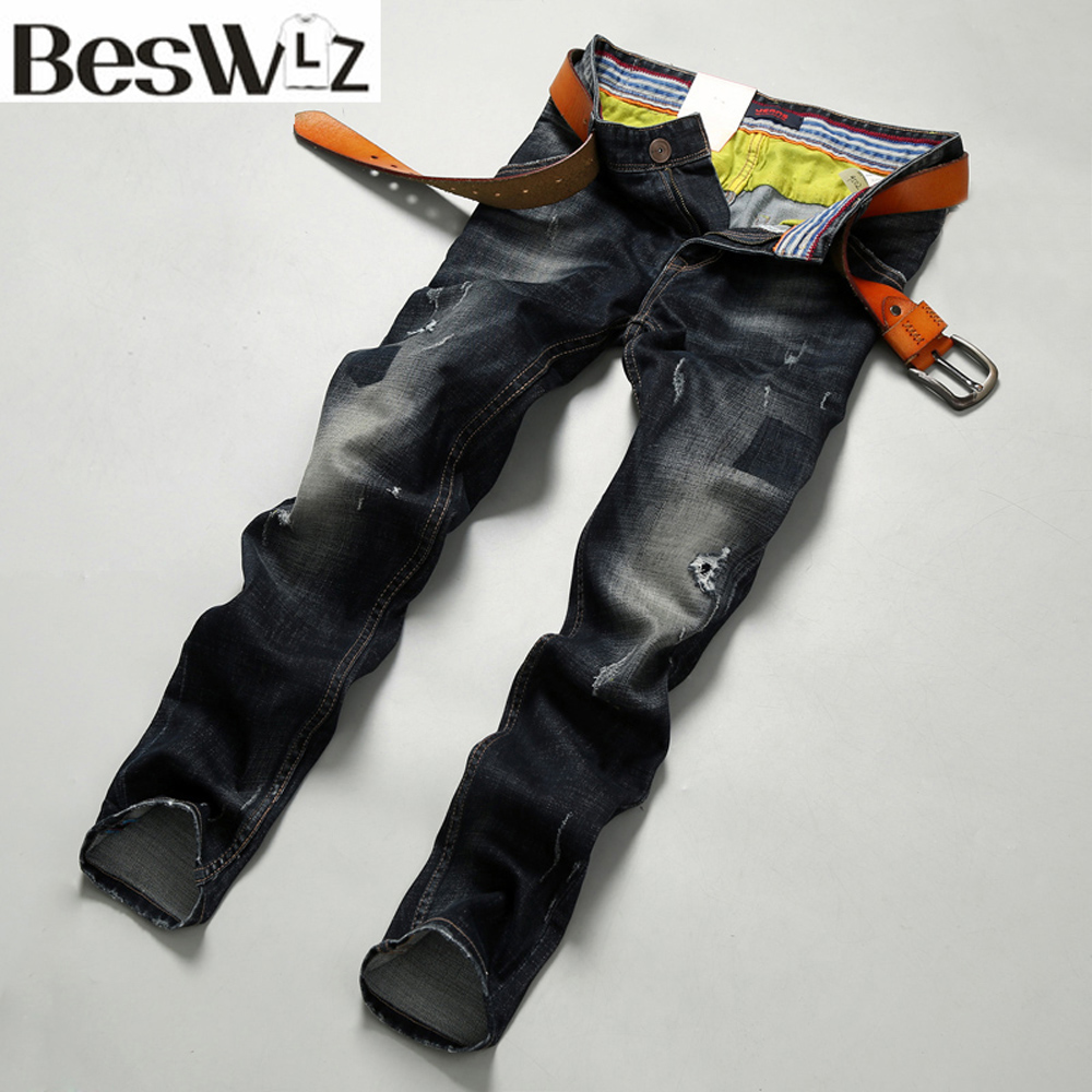 Beswlz Men Denim Jeans Mid-weight Straight Slim Male Scratched Jeans Pants Casual Business Style Men Black Hole Jeans 9502