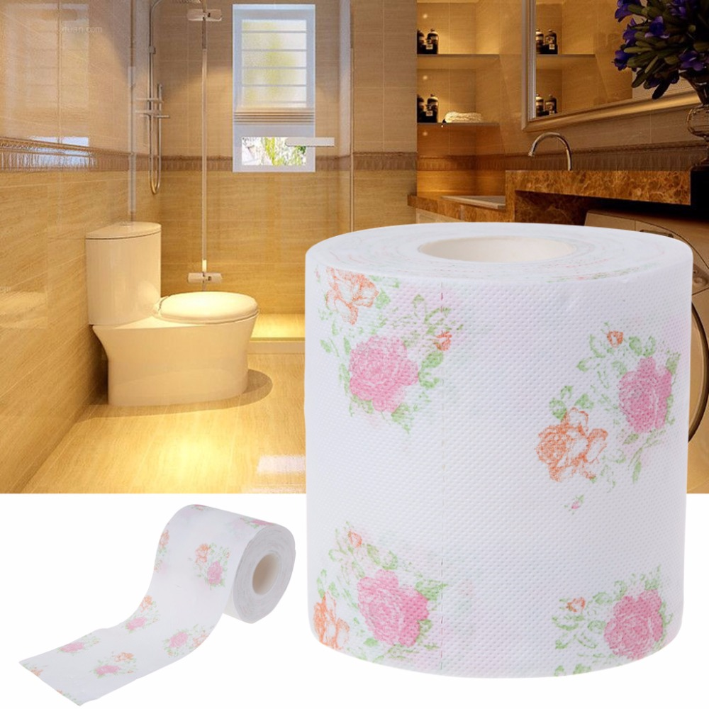 FSHALL 10x9.5cm Flower Floral Toilet Paper Tissue Roll Bathroom Novelty Funny Gift  240 Sheets /Roll
