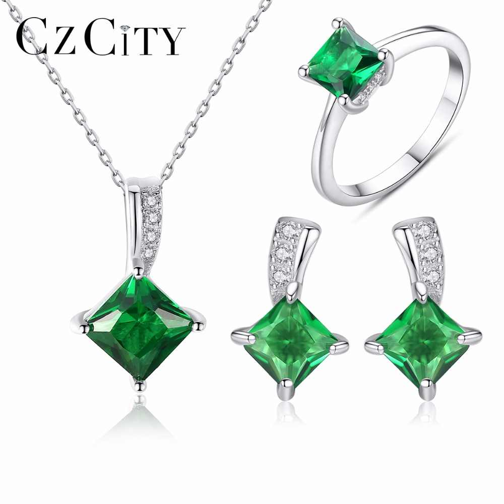 CZCITY 925 Sterling Silver Jewelry Set Sparkling Green CZ Crystal Jewelry Sets Wedding Engagement Jewelry Valentine's Day
