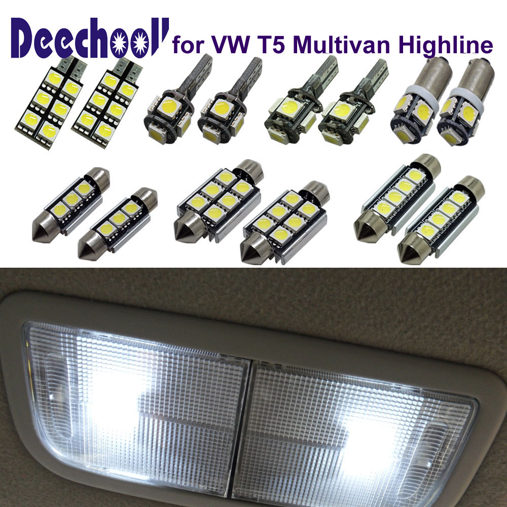 deechooll 9pcs Car LED Bulbs for VW Multivan T5 ,White Canbus Interior Light for Volkswagen T5 Transporter Dome Light wljh 2x canbus led 20w 1156 ba15s p21w s25 bulb 4014smd car lamp drl daytime running light for volkswagen vw t5 t6 transporter