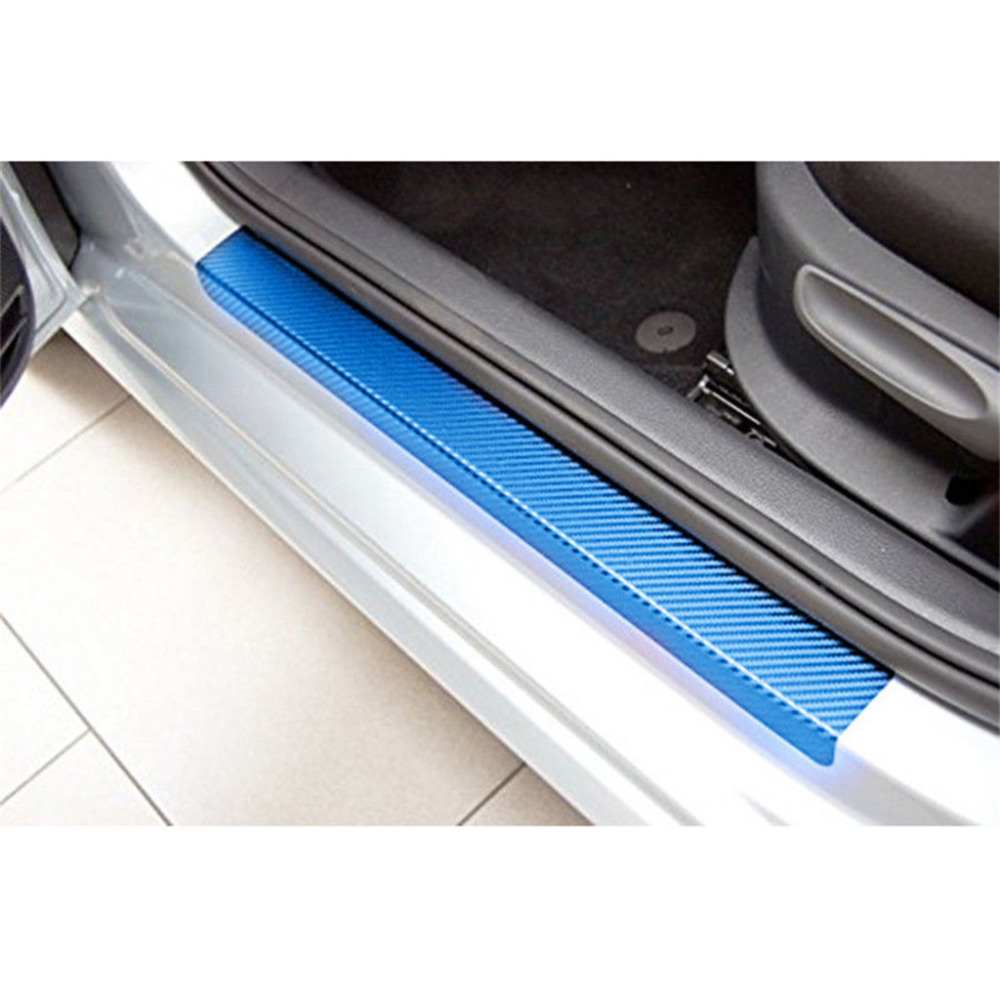 4xCar Door Pedal Threshold Carbon Fiber Printing Scratch Resistant Sticker Decal