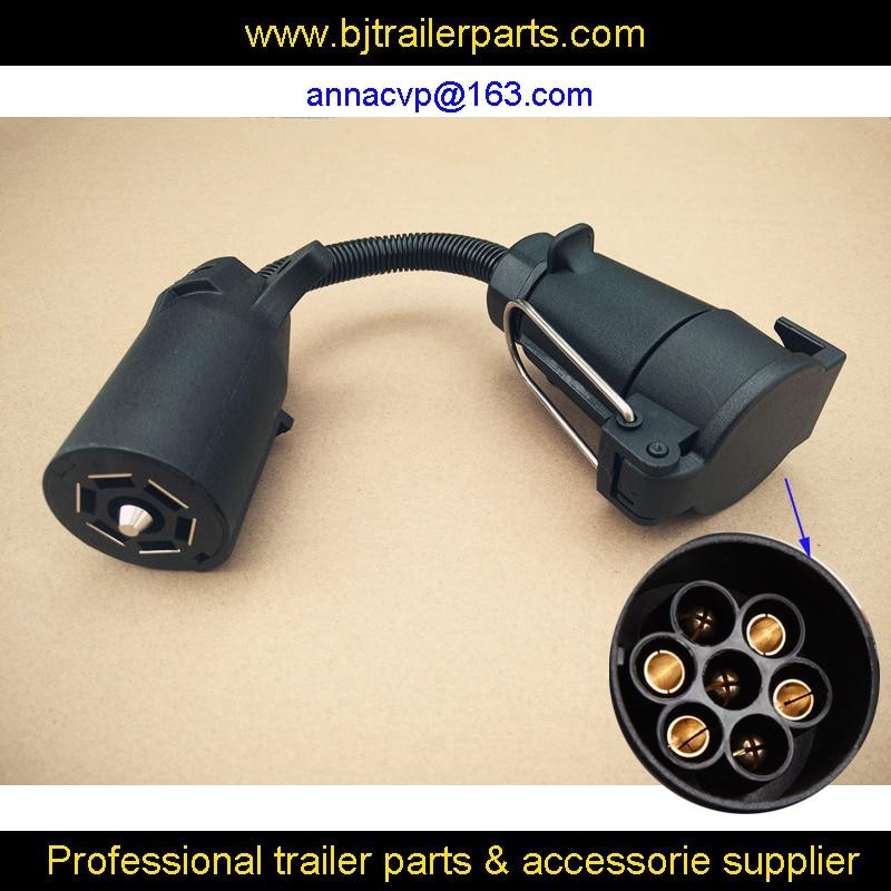 Cvp 7 Pin Trailer Round Socket Female Plug To 7 Rv Blade