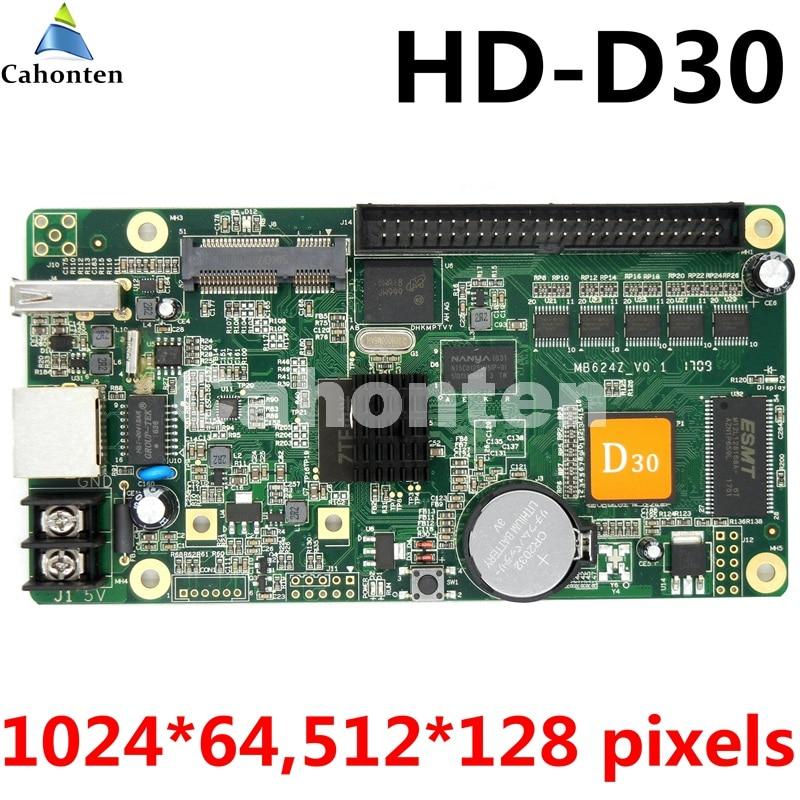 HD-D30 USB asynchronous full color led screen control card 1024*64 pixels rgb U-disk port video controller for lintel display hw t10 network usb asynchronous full color led control card 1024 80 pixels video led controller 10 hub75port for p4 p5 p6 p10