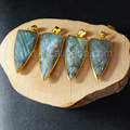 WT-P800 natural  labradorite stone pendant for wholesale , large size arrowhead shape single bail pendant for jewelry making