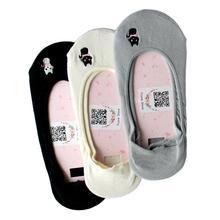 Womens Sock Slippers Embroidery Kitten Solid Color Hidden Flat Boat Line Cotton Female Socks Non slip