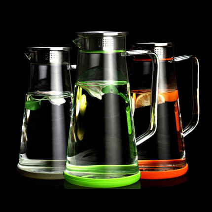 1.8l большая емкость холодной чайник стеклянный чайник высокая температура фильтр прохладной водой бутылка сока тепла холодной бутылки