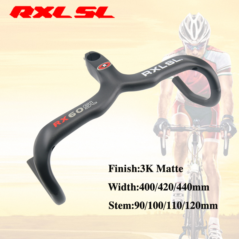 RXL SL Carbon Road bicycle Handlebar 3K Matte Bent Bar 400/420/440mm Road Bike Carbon Handlebars With Stem Bicycle Handlebar 2018 road bike carbon handlebar matte glossy 3k handlebar racing cycling bicycle bent bar black reach 70 drop 100