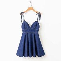Горячая Распродажа XD60-1861 Европейская и американская мода джинсы плиссированное платье